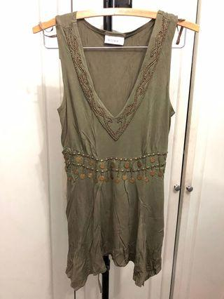 Olive green sleeveless top