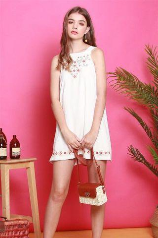 ACW Summer Floral Embroidery Cut in Dress