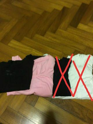 Basic tops (black, white, pink)