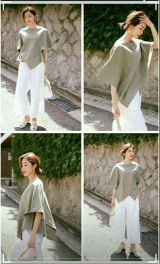 全新韓國米白色褲