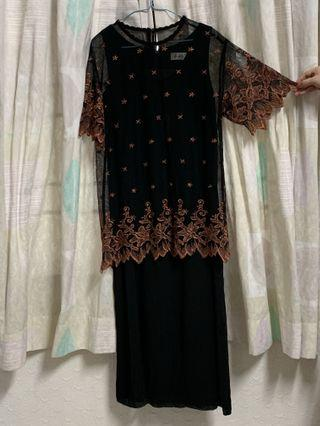 Evening and Office Wear Long Dress - Black and Brown