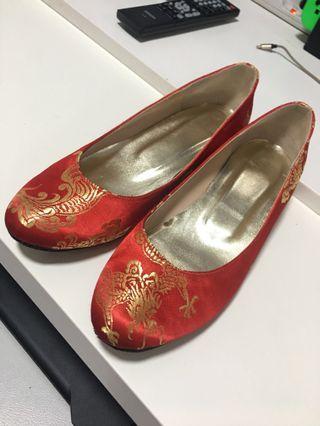 中式褂鞋 囍字繡花鞋 42號 二手 W Shoe Shop 購入