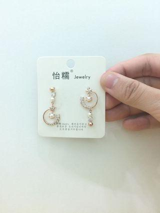 [maycurve] - Earring / Accessories White Crystal golden