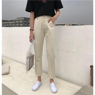 🚚 #303 (2 COLOURS) khaki beige/black high waisted straight cut jeans pants ulzzang