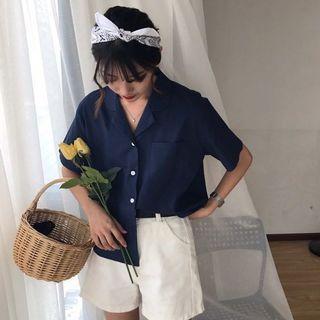 🚚 #304 (4 COLOURS) brown/army green/navy blue/beige button up chiffon blouse collar shirt top korean ulzzang