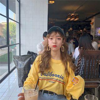 🚚 #305 (3 COLOURS) mustard yellow/black/white long sleeved pullover california ulzzang graphic top