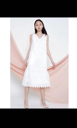 All would envy maci organza midi dress in white