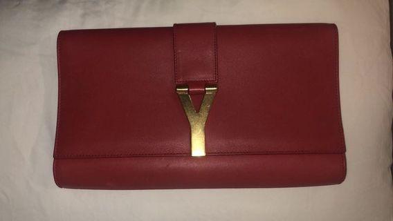 YSL red clutch