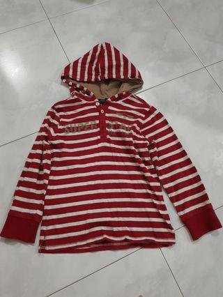 Urban red and white stripes long sleeves with hood