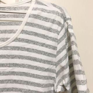 Muji 無印良品 淺灰色條紋短袖上衣 T恤