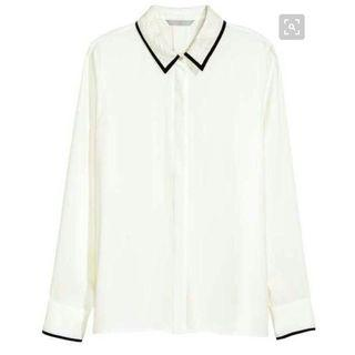 HnM long white blouse stripe black