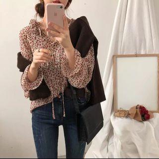 雪纺上衣女2019新款夏季韩版长袖薄款防晒罩衫荷叶边甜美碎花衬衫