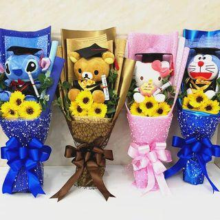 🚚 Graduation Bear Bouquet Hello Kitty Doraemon Stitch Pokémon pikachu rilakkuma soap flowers