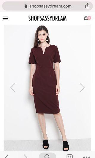 🚚 Jaida Dress in Maroon SSD