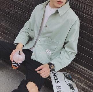 韓版修身外套 淺綠色 9.5成新