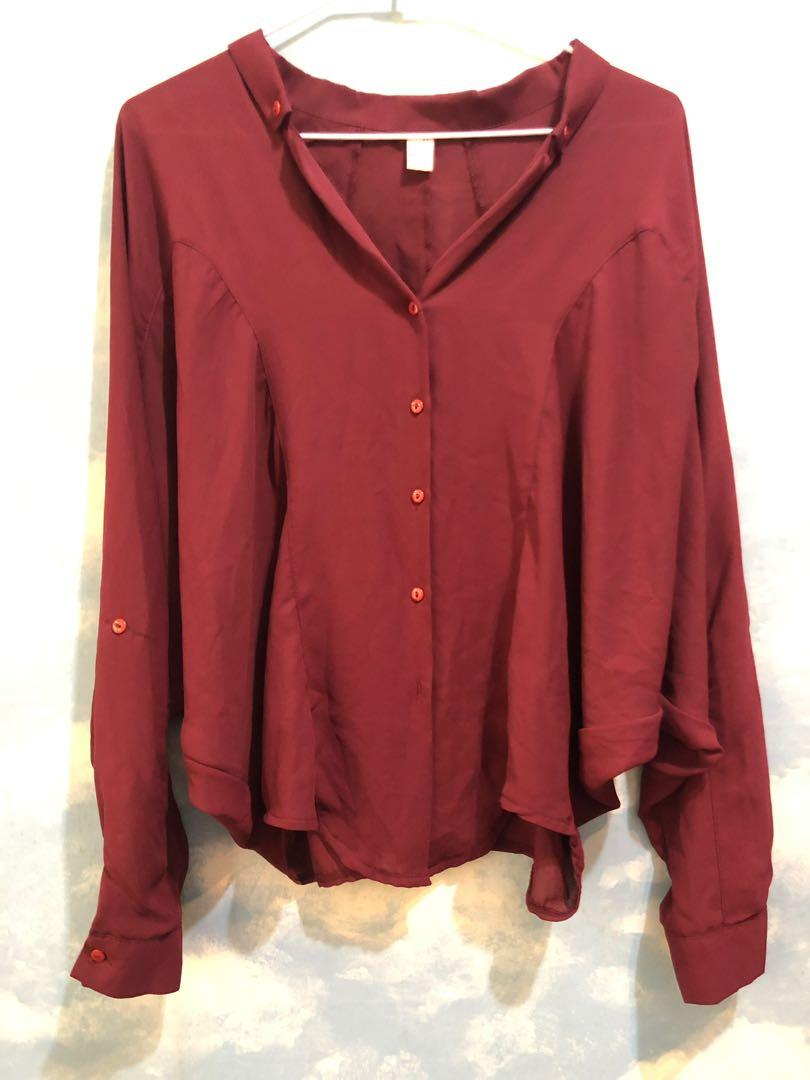 🔥特價出清🔥韓版酒紅雪紡飛鼠襯衫