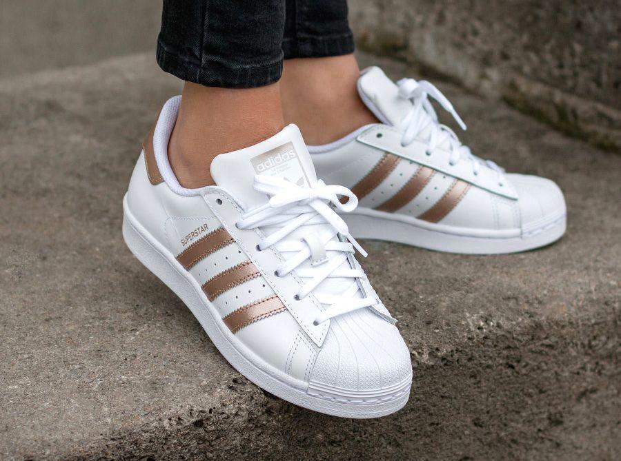 Adidas Superstar White/ Gold, Women's