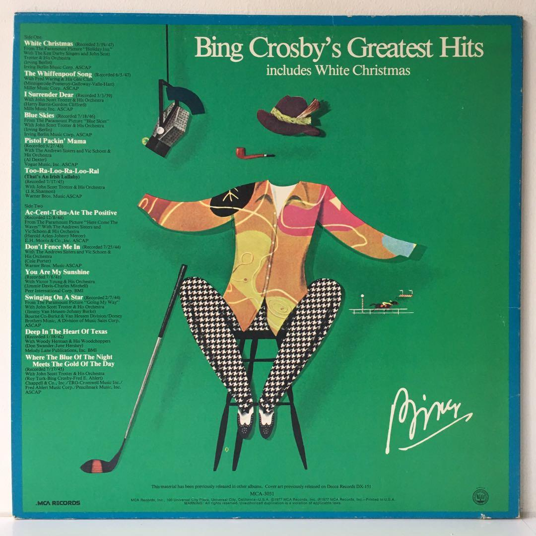 Bing Crosby ‎– Bing Crosby's Greatest Hits (1977 UK Pressing - Vinyl is Mint)