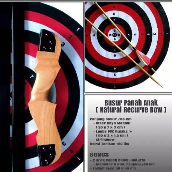 BUSUR PANAH NATURAL RECURVE BOW DEWASA/ANAK