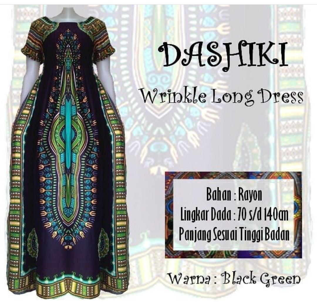 Dashiki Long Wrinkle Dress