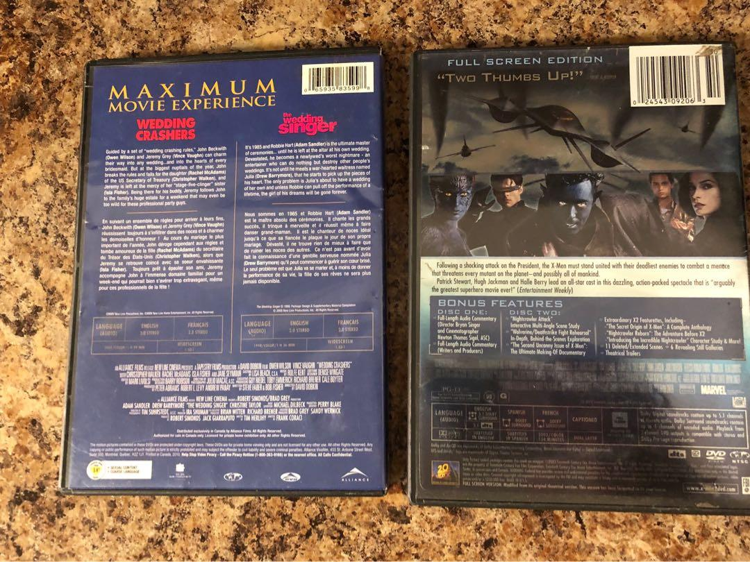 DVD's (X-Men 2, Wedding Crashers, & The Wedding Singer)