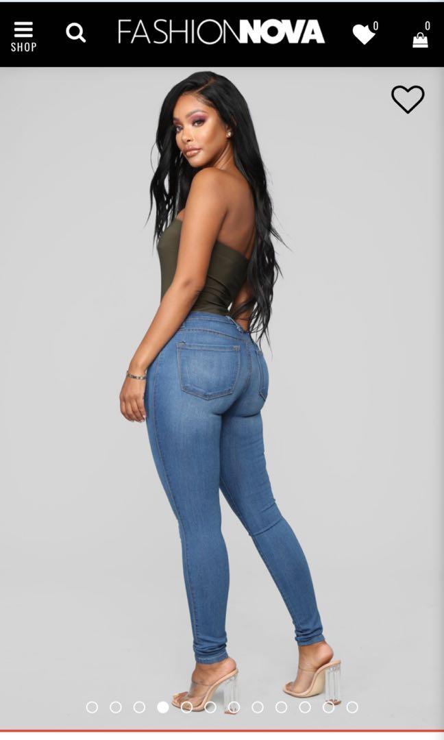 Fashionnova classic mid rise skinny jeans - medium blue wash