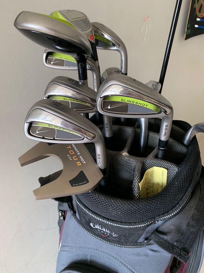 Golf set - Nike Slingshot graphite  irons, Callaway bag and driver