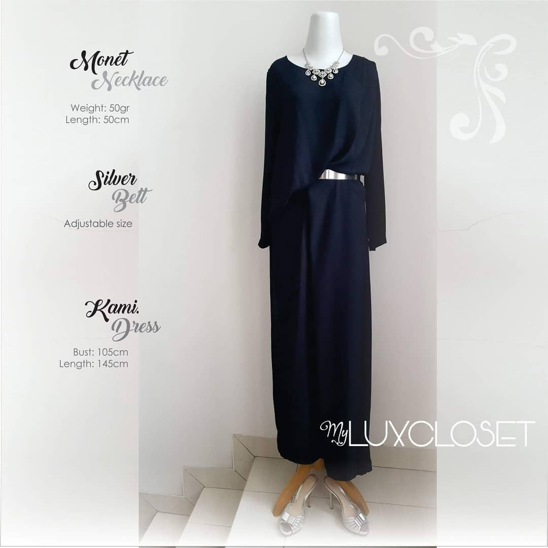 Kami Black Dress with Monet Necklace and MiuMiu Shoes #maugopay