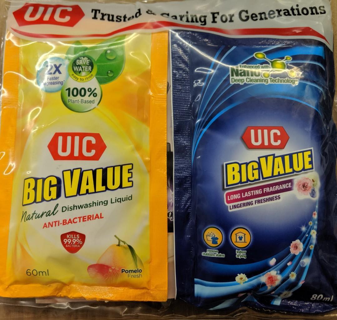 Laundry detergent/softener & Dishwashing liquid travel pack