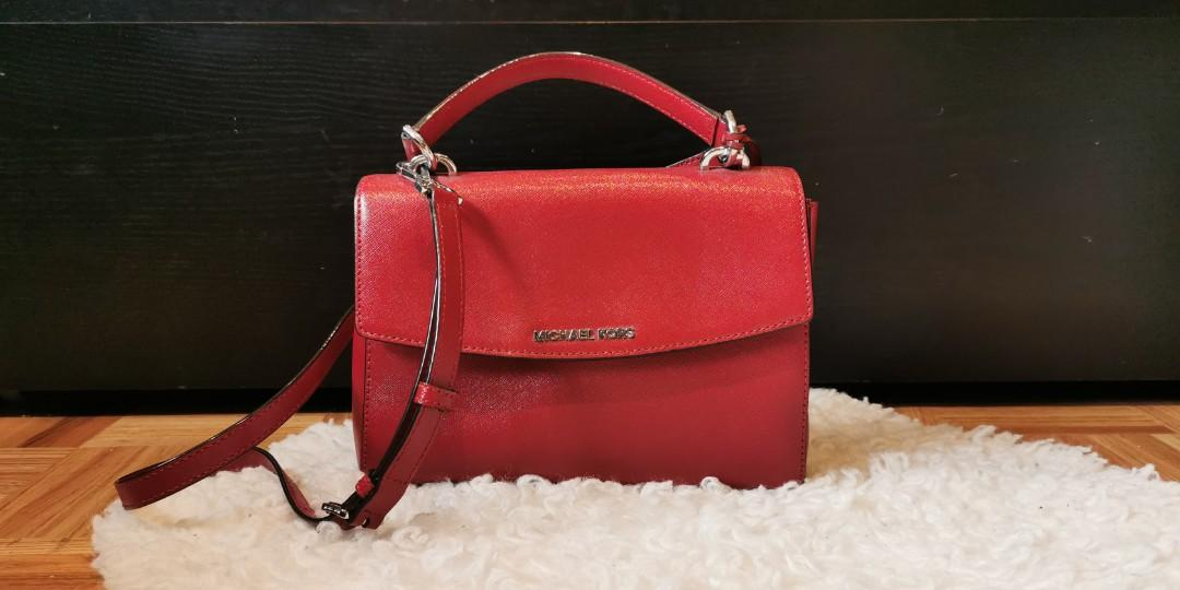 Micheal Kors Ava Small Saffiano Leather Crossbody Bag | Cherry