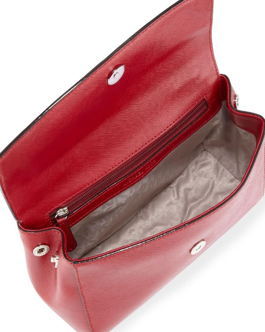 Micheal Kors Ava Small Saffiano Leather Crossbody Bag   Cherry