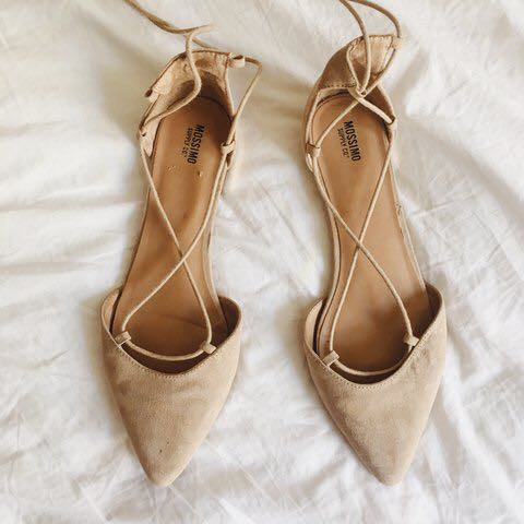 Mossimo Nude Lace Up Flats, Women's