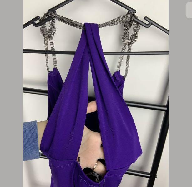 NWT Events sz S purple Bling Knot tank top cami cowl neck halter club party sexy
