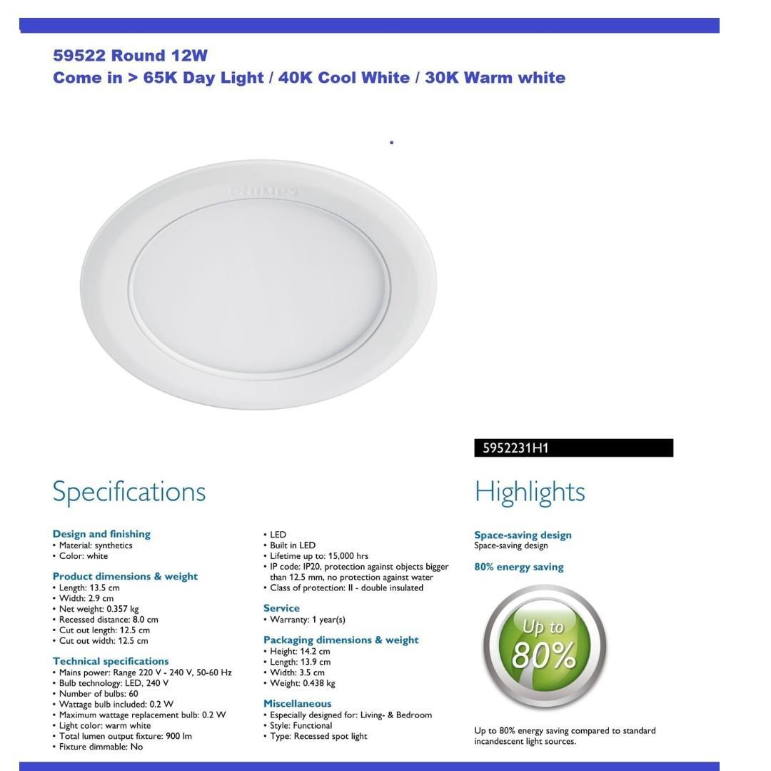 Philips LED Downlight -Original Singapore warranty