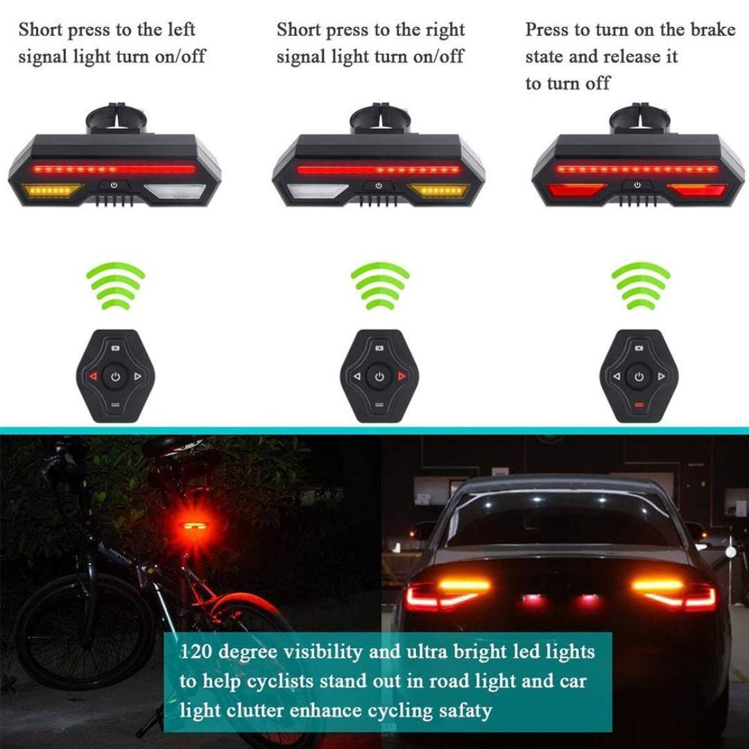 [SG Seller] Truslink Wireless Remote Control Smart Bike TailLight, Ultra Bright USB Rear Bike Light with Turn Signals, Safety Flashing Bike Brake Lights, Brake Sensing, IPX4 Waterproof bicycle light