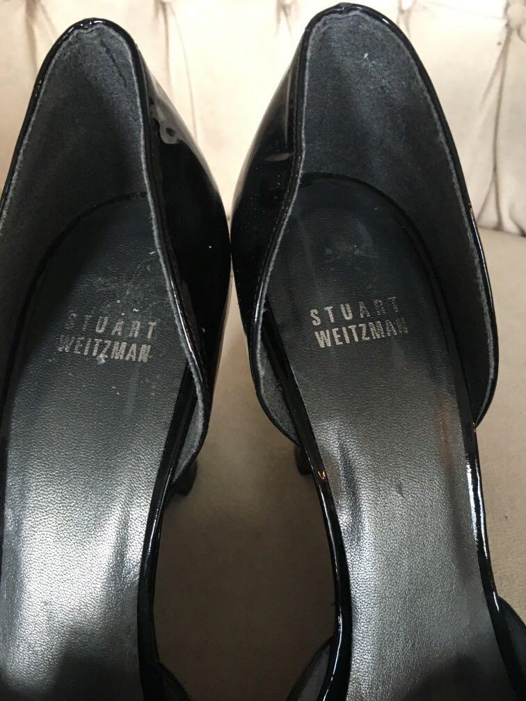Stuart Weitzman 9N patent leather platform open toe pumps
