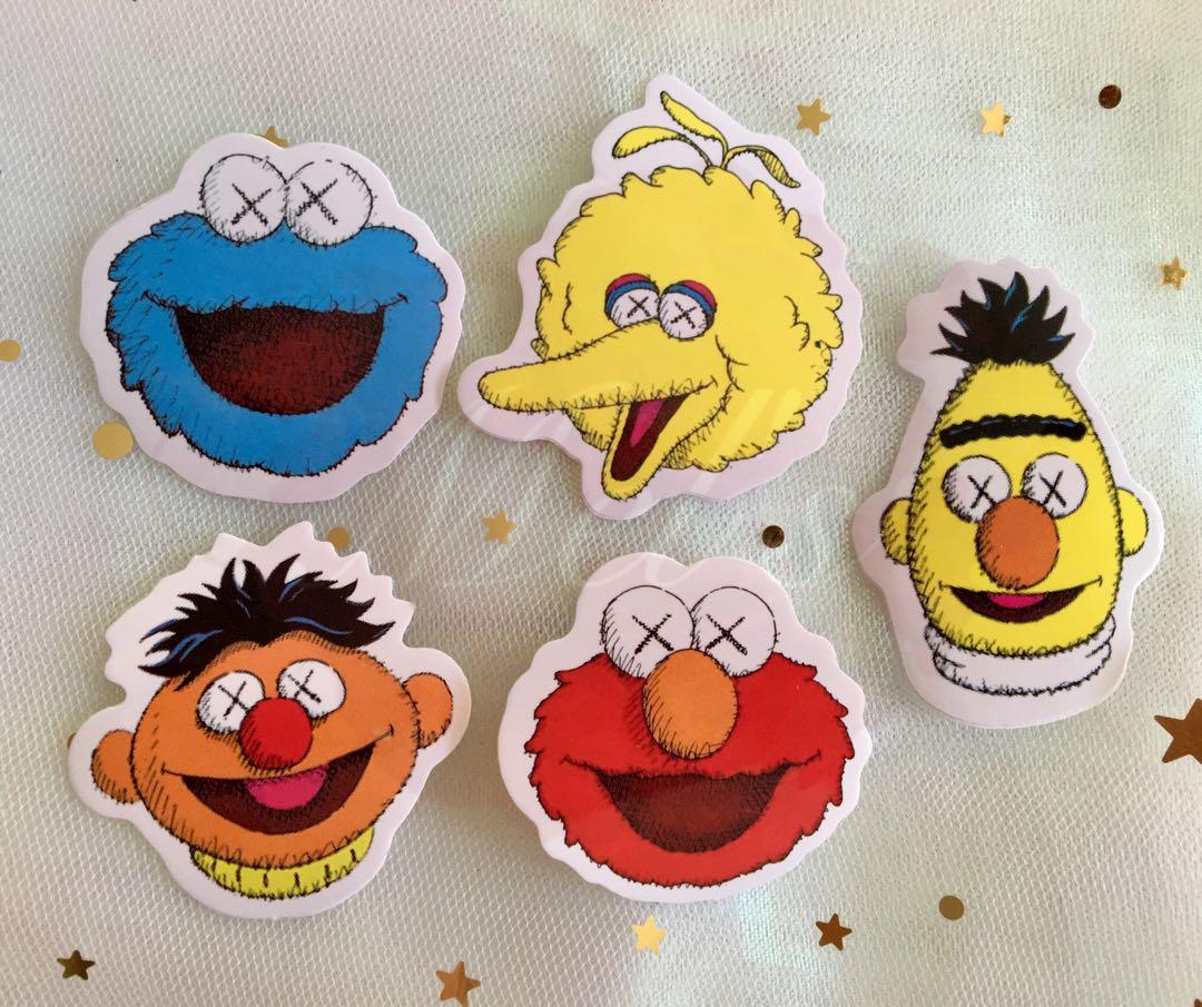 The Kaws X Sesame Street Tumblr Stickers (Small) • Elmo Cookie Monster Big  Bird Oscar the Grouch Bert and Ernie #AnywhrCarousell