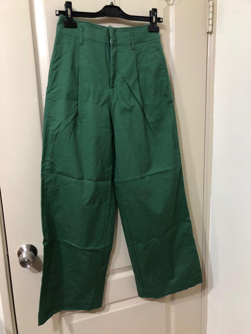 UNIQLO 長寬褲/綠色