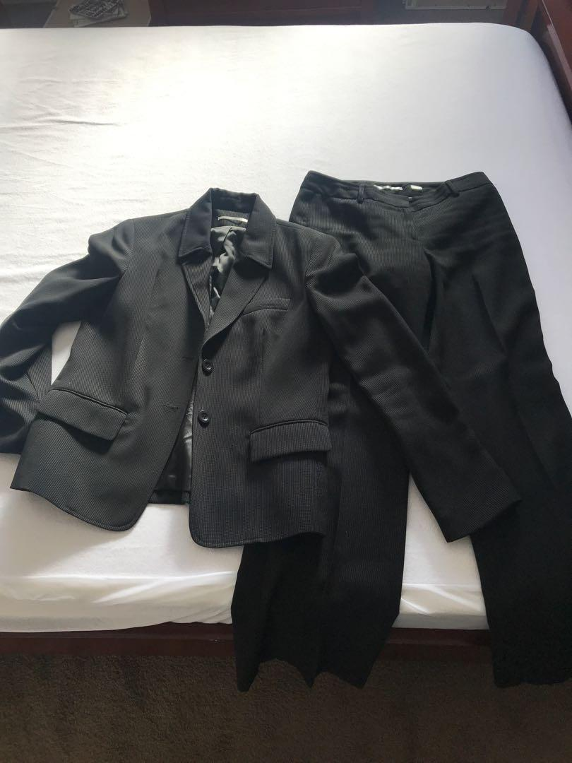 Work pants and a suit jacket/pant combo