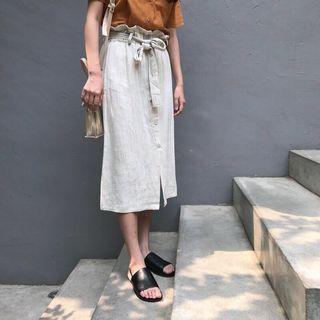 🚚 棉麻花苞裙