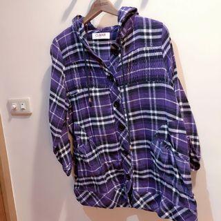 專櫃品牌CUMAR Italy 紫色格紋毛料連帽外套 罩衫