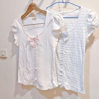 專櫃品牌0918 公主淡粉/淡藍 棉質條紋蝴蝶結綁帶上衣