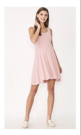 Dear collective erin knit skater maternity nursing dress pink