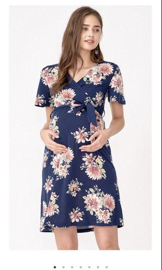 Dear collection misa floral faux wrap dress navy