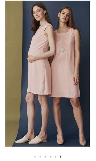 Dear collective maternity nursing dress carla asymmetrical zip dress pink