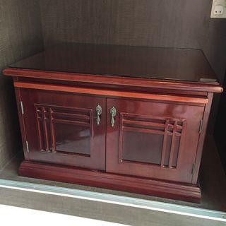 Table Cabinet with Glass Top and Sliding Tray