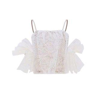 White lacey top with big sleeves