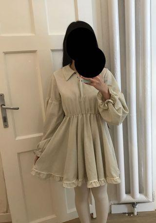 Checkered beige long sleeves casual dress