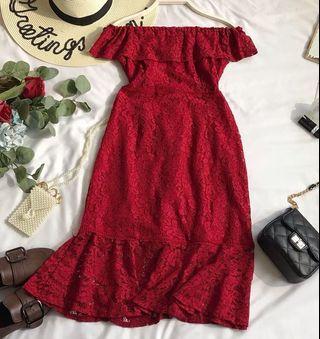 Red Off Shoulder Lace Dress