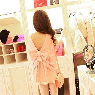 Pink Sleeveless top with big back ribbon bow